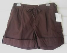 LIZ CLAIBORNE..DARK BROWN..CARGO ROLL..DRAW STRING..COTTON..SHORTS..NWT..sz 6