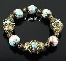 Vintage Victorian Style Ornate Brass & Porcelain Beads Stretch Bracelet 7 inch
