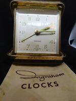 """Vintage ~ Ingraham Brand ~ Travel Alarm Clock ~ 3"""" x 3"""" ~ Wind Up Bedside Alarm"""