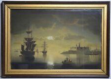 Nocturnal Moonlit Kronborg Castle Sailing Ships Antique Night Seascape Pastel