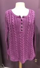 Ruffl Hewn Women's Burgundy Cable COTTON 1/2 Button Sweater Hanley Pullover P XL