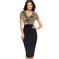new women ladies Black leopard print pencil Bodycon dress size 8 10 12 14 16 18