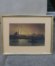 Onnik Azerian (1883) Pastel. View over golden horn river. Constantinople.RARE!