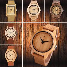 Men's Lightweight Wooden Watch Leather Strap Band Quartz Retro WristWatches