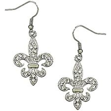 Beautiful Crystal Fleur De Lis Earrings Gift Boxed Fast Shipping
