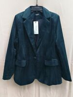 Women's Comfy Tailored Collar Shimmer Velvet 1-Button Blazer Suit Jacket Dk Gn L
