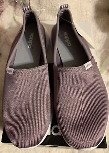 New adidas women's Cloudfoam Lite Racer Slip On Shoes Purple/White size 9.5
