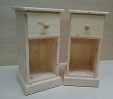 Pair Unfinished Solid Bedside Cabinets Narrow Gap Slim Not Painted Hand Crafted