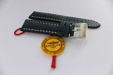100% Genuine New Breitling Blue Calf Leather Tang Buckle Strap, 22-20mm Fitting