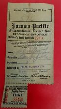 Rare 1915 Official SAN FRANCISCO Panama Pacific Expo PPIE Workers Weekly Permit