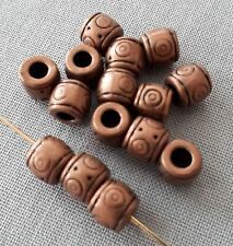 14pcs-Red copper big hole space tube beads,copper spacer beads