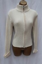 River Island Cream Thick Winter Cable Knit Zip Up Cardigan Jacket Jumper 10 UK