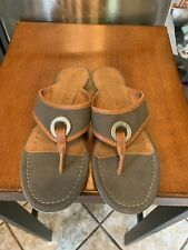 Tommy Hilfiger Sandals Leather And Canvas Thong Style Silver Ring Logo Size 6
