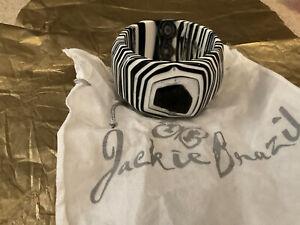 Jackie Brazil black & white stripey chunky bangle