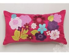"New LOGAN and MASON ""Winnie Pink"" 100% Faux Silk Appliqued Long Filled Cushion"