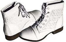 Women's Boots Military Combat Mid Calf Lace Up Round Toe Floral Booty Forever