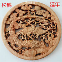 CHINESE HAND CARVED 松鹤延年 STATUE CAMPHOR WOOD ROUND PLATE WALL SCULPTURE