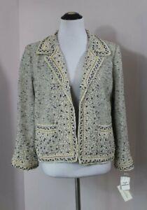 OSCAR DE LA RENTA Sz 12 Navy Ivory Tweed Open Blazer Jacket NWT