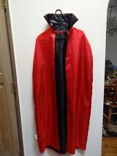 Halloween Vampire Dracula Witch Devil Reversible Cloak Cape Black Red Adult  OS
