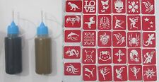 2 Applicator Bottle - Black & Brown Henna Mehndi temporary tattoo ++ 30 stencils