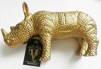 statuette sujet décoration aluminium rhinocéros finement travaillé couleur or