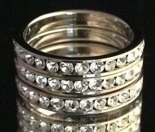 DESIGNER Silver Ring 3 Stackable Bands Simulated Diamond Premier Quality Sz 9