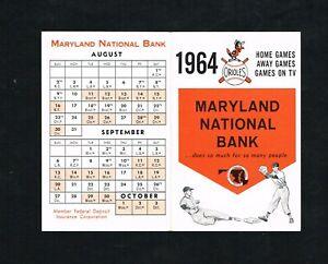 1964 Baltimore Orioles Maryland National Bank Baseball Foldout Pocket Schedule