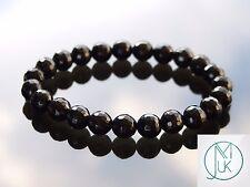 Facelet Black Onyx Natural Gemstone Bracelet 7-8'' Elasticated Healing Stone