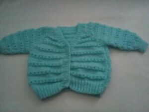 Hand Knitted Cardigan Turquoise 0-6 Months BNWT