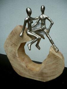 "Casablanca Design Skulptur ""Secure"" 81021 Mangoholz / Alu H 27 cm Geschenk TOP"