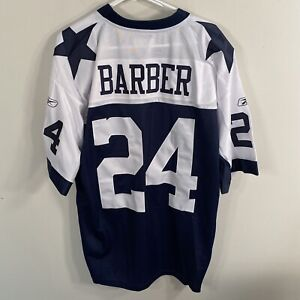 Authentic Dallas Cowboys #24 Marion Barber Jersey Reebok Throwback Navy White L