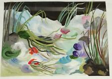 """Ingeborg KONRAD (XX """"Blumen"""" Aquarell, ger/Glas, RG 43x53 cm  (290-12014)"""