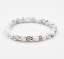 UK Beautiful Silver Buddha White Howlite Gemstone Crystal Beaded Bracelet