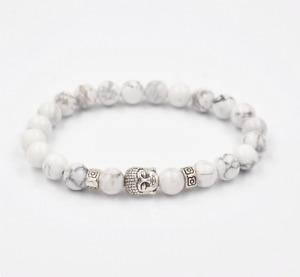UK Beautiful Silver Buddha White Howlite Gemstone Crystal Beaded Bracelet