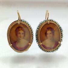 Vintage 14k Yellow Gold Painted Portrait Miniature Cameo Dangle Drop Earrings