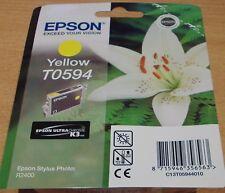Genuine EPSON T0594 TO594 Giallo Giglio ermetica della Cartuccia originale inchiostro per R2400