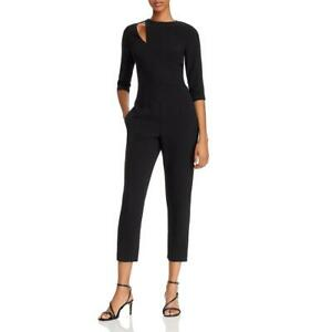 Black Halo Womens Hope Black Cut-Out 3/4 Sleeve Round Neck Jumpsuit 10 BHFO 7816