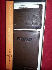 Gianni Conti Passport Holder with Front pocket Wallet Dark Brown Leather Set