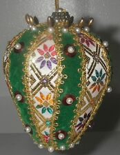 Christmas ORNAMENT Teardrop Braid Embroidery Beaded Pearls Hand Crafted 3 3/4""