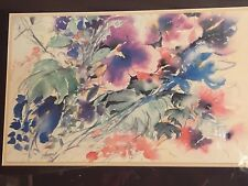 EUROGRAPHICS GERMANY VERY LARGE FLORAL WATERCOLOR PRINT SIGNED EWALD KUCH 1993