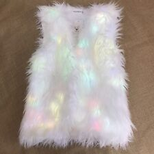 SZTOPFOCUS White Size S Faux Fur Vest Neon Rainbow LED Light Up Festival Jacket