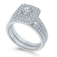 Certified 1.30Ct White Round Diamond Double Halo Engagement Ring 14K White Gold