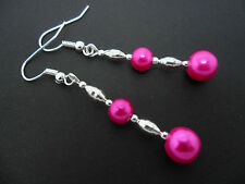 Pearl Silver Plated Dangly Earrings. New. A Pair Of Bright Pink Glass