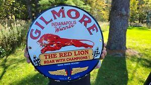 """VINTAGE DATED 1952 GILMORE THE RED LION PORCELAIN ENAMEL GAS PUMP SIGN """"WINNER"""""""