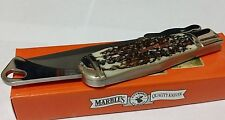 MARBLES STAG HUNTING POCKET BOWIE KNIFE W/ CUSTOM RIFLE SHIELD !!!