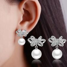 Women's Solid 925 Sterling Silver Zircon Bowknot Pearl Stud Drop Party Earrings