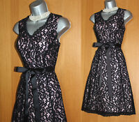 Jacques Vert Black Lace Fit & Flare Knee Length Formal Party Race Dress 10 12