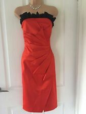 Karen Millen Orange Black Trim Origami Strapless Wiggle/Pencil Dress 12