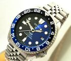 Seiko Black Blue Prospex PADI Batman GMT Automatic Divers Date Watch Custom 7002