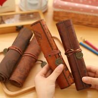 Leather Bag Purse Pouch Cosmetic Make Up PU Bag Pen Pencil Case For School